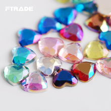 Mix Color Crystal AB Flatback 14mm Heart Shape Acrylic Rhinestone 100Pcs/Lot Glue On Strass Non Hotfix Crystals Stones Gems(China)