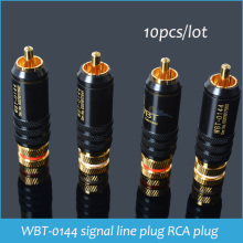 Sindax RCA connectors male WBT-0144 signal line plug WBT 0144 RCA plug lotus head copper RCA plug connectors 10pcs/lot