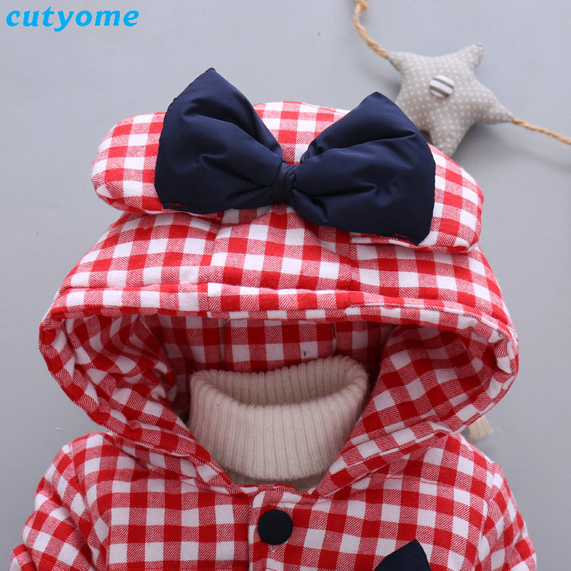 Cutyome Newborn Baby Girls Outwear Coats Hooded Plaid With Bow Cotton Winter Jackets Children Infant Padded Thick Jacket Clothes (7)