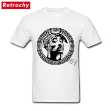 Designer White 2Pac Shirt Hip Hop Tupac Shakur T-shirt Guys Short Sleeve O-neck Cotton Tee for Men Simply Fashion Clothes(China)