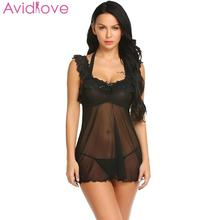 Buy Avidlove Baby Dolls Women Erotic Lingerie Sexy Women Lace Floral Sexy Halter Women Patchwork Dress Mesh Nightwear Sleepwear
