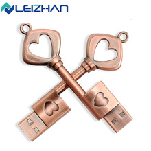 The full capacity Metal The key of love  usb 2.0 usb flash drive 8gb 16 gb 32 gb pen drive memory stick pendrive u disk