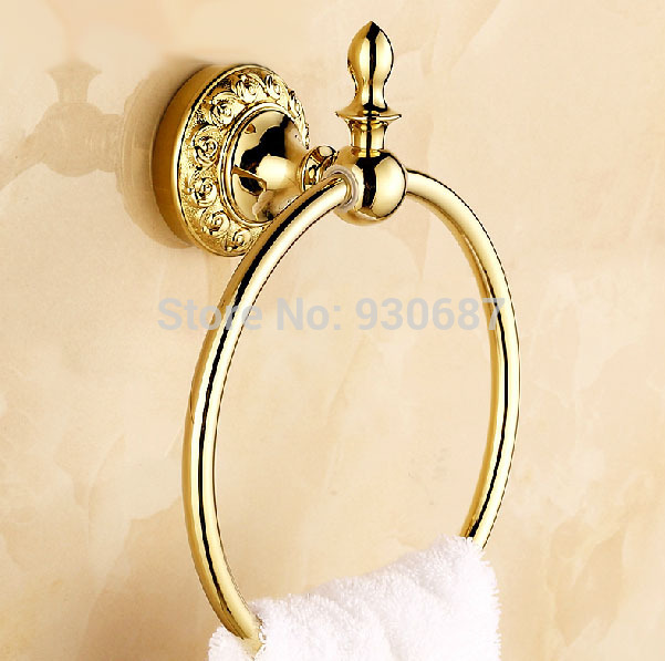 Flower Carved Gold Plated Bath Solid Brass Wall Mounted Towel Rings<br>
