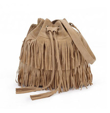 Women Suede Bag Drawstring Bucket Bags Women vintage Handbag Faux Fringe Tassel Shoulder Cross Lady Messenger Bag SS0103
