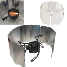Folding Mini 9 Plates Stove Windproof Shield Screen Picnic Outdoor Camping Fold Deflector Windbreak Cooker BBQ Gas Accessory
