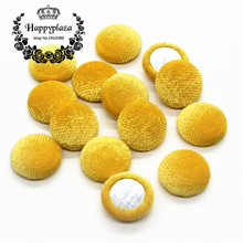 15mm 50pcs Lemon Yellow Korean Velvet Fabric Covered Round Home Sewing Buttons Flatback DIY Scrapbook Craft