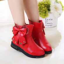 Children Gilrs Kids Winter Velvet Rivet Bow Ankle Boots Student Party Birthday Shoes Waterproof Snow Boots Snowboots For Girls(China)