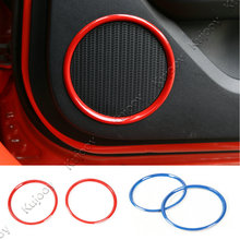 2Pcs Chrome Silver/Blue/Red ABS Car Door Speaker Cover Trim Ring Sticker Decor Frame For Ford Mustang 2015 2016(China)