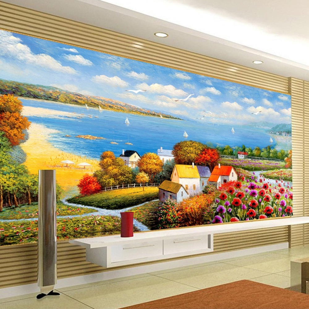 Custom 3D Wall Murals Wallpaper For Living Room TV Background Bedroom Walls 3D Mediterranean Landscape Oil Painting Wallpaper<br><br>Aliexpress
