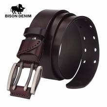 BISON DENIM Vintage double pin buckle genuine leather belt for men Casual jeans accessories Father's Day gift N71247