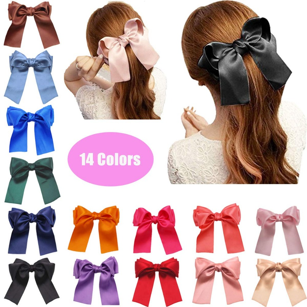 100pcs Baby Girls Kids Large Double-colored Hair Bow Alligator Clip