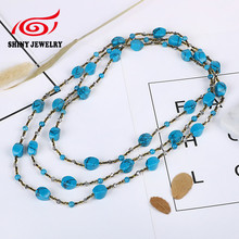 2017 Luxury Multilayers Long Neckalce Synthetic Turquoises Beads Women Statement Necklace Wholesale Fashion Jewelry