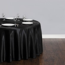 Free Shipping 10pcs Cheap Black 90'' Round Satin Table Cloth Banquet Table Cover Wedding Table Linens