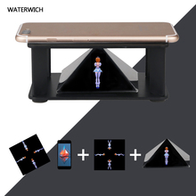Universal Smartphone 3D Holographic Projector Mini Pyramid 3D Animation Display Showcase Box Projector for 3.5-6inch Phones(China)