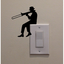 Man Playing Trombone Fashion Cartoon Switch Bedroom Decor Decal Switch Sticker 5WS0064(China)