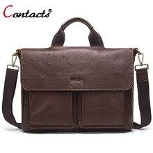 Contact's Genuine Leather Bag Men Bag Large Leather Handbag Men Laptop Briefcase Shoulder Crossbody Bag Men Messenger Bag