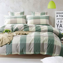 100% Washed Cotton Bedding Set Bedcover Sets Plaid Duvet Cover Sets Bed Sheets Adults Kids Housse De Couette King/Queen/Twin(China)