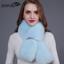 ZDFURS *new winter real fox fur shawl fashion collar long fur scarf female fox fur ring coat decoration fur collar(China)