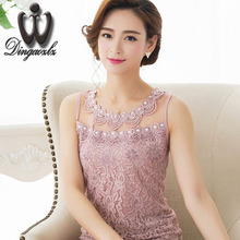 Fashion lace Vest Tops female Summer Sexy lace blouse New Sleeveless Basic shirt Ladies Plus size Diamond Mesh Women shirts(China)