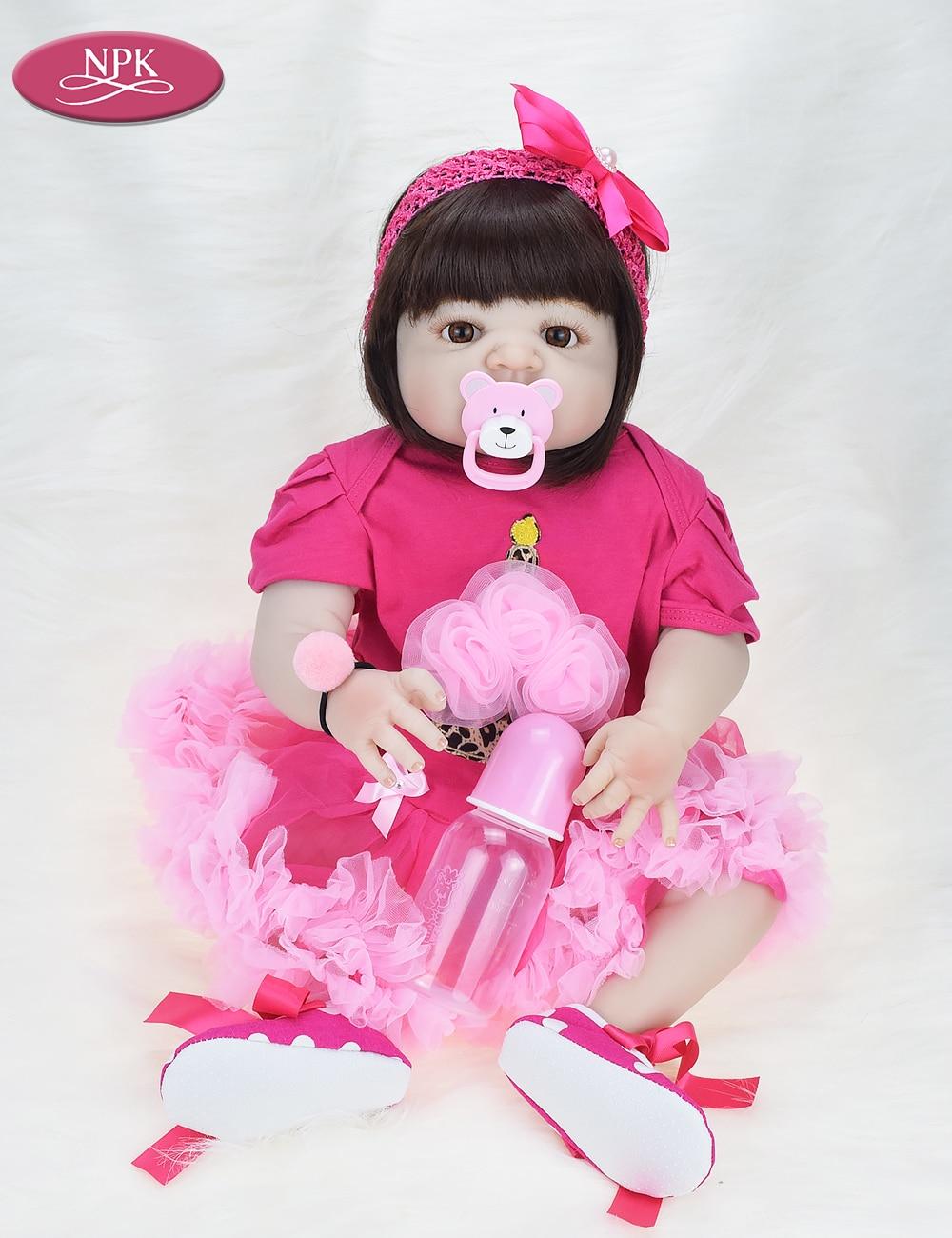 NPK 57CM Full Body Soft Silicone Girls Reborn Baby Doll Bathe Toys Lifelike Princess Girl Dolls Bebe Real Reborn Boneca Menina  (4)