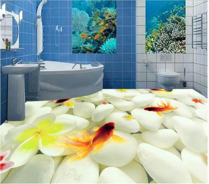 3 d flooring custom waterproof  3 d pvc flooring elegant pebbles goldfish 3 d bathroom flooring photo 3d wall murals wallpaper<br>