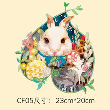 Hand painted lovely rabbit girl thermal transfer Offset Tang Hua pattern DIY clothing decorative decals patch cloth paste