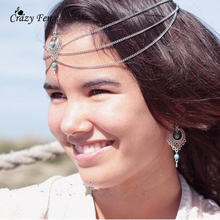 1 Piece Sliver Color Head Chain Tassel Hair Accessory 2016 Hot Vintage Natural Beads Hair Jewelry Summer Style Hairbands