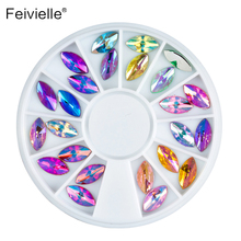 Feivielle New 24 Pcs /Wheel House Eyes 3D Nail Art Acrylic 12 Colors AB Rhinestone Style Tipes Decoration Manicure Jewelry Tools(China)