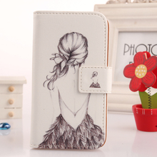 LINGWUZHE Cell phone Case For LG E440 Optimus L4 II Cover Protection Flip Book Style Card Holder Cute Design PU Leather