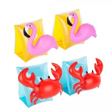 1Pair Children Crab Flamingo Swimming Arm Ring Inflatable Arm Bands Kids Floatation Sleeves Water Wings Swimming Arm Floats(China)