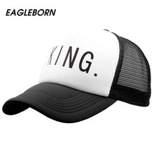 [EB] 2017 new Hot Sale KING QUEEN Print Trucker Caps Men Women Mesh Summer Flat Visor Snapback Hat White Black Couple Gifts