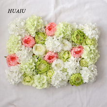 50Pcs Artificial Flowers Heads Hydrangea Peony Flower Heads Silk artificial flowers wall For wedding decoration background wall(China)
