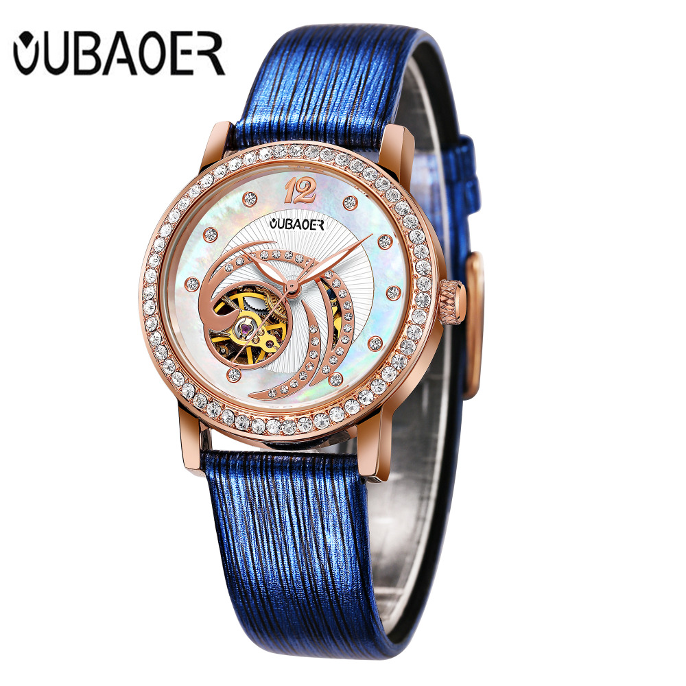 Luxury Brand OUBAOER Womens Watches Ladies Mechanical Watch Elegant Style Genuine Leather Band Automatic Montre Femme saat 2017<br>