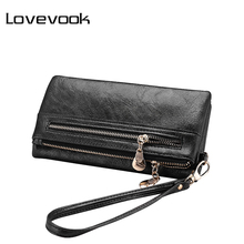 LOVEVOOK brand fashion women double zipper wallet artificial leather women black card holder famale clutch purse coin purse