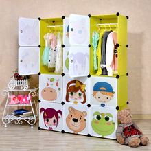 2016 Rushed Armadio Armoire 16 Cubes Children's Cartoon Simple Cabinet Assembled Diy Kids Closet Organizer Childrens Wardrobe