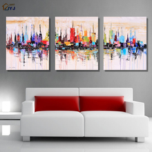 New York Modular Picture Art Hand Painted Palette Knife Abstract Oil Painting on Canvas Wall Art Gift for Living Room Decoration