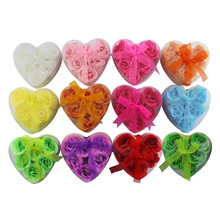 Heart-shaped Rose Soap Flower (6pcs/box   10boxes / lot ) For Romantic Bath And Gift