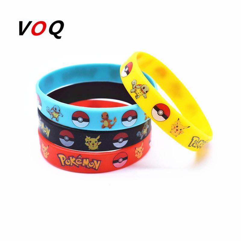 Birthday Party 4pcs//lot  pikachu   Pokemon Go Rubber Bracelets Wristband
