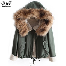 Dotfashion Winter/Spring Designer Fashion Women's Outwear Short Causal Solid Fur Hooded Warm Long Sleeve Drawstring Coat(China)