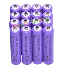 16x AAA 1800mAh 3A 1.2 V Ni-MH Purple Rechargeable Battery Cell for MP3 RC Toys