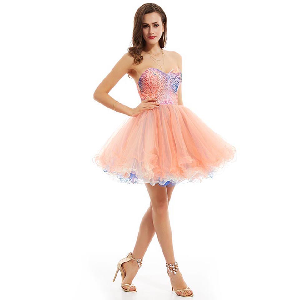 Buy cheap Pink homecoming gown strapless sequins graduation dress online