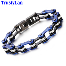 TrustyLan Punk Bicycle Chain Bracelet Men Motorcycle Link Chain Bracelets Bangles Trendy Blue Stainless Steel Men's Jewelry Gift(China)