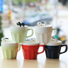 300ml cartoon cat Ceramic coffee Mug tea milk Cup Birthday Christmas Gift Heat Resistant 3D Animal mug Creative Drinkware(China)