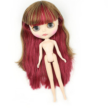 blyth doll Brown, wine red, double colored hair Bangs hairstyle 230BL24360623 ,normal body doll girl doll 1/6