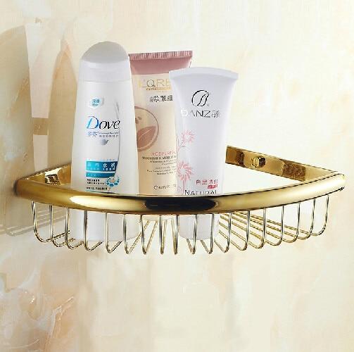 New Luxury Wall Mounted Golden Shower Basket Shelf for Cosmetic Orgnizer golden shower basket bathroom holder<br>