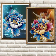 2016 cross stitch new living room 5D diamond painting flowers bloom rich blue peony flowers crystal round diamond manufacturers(China)