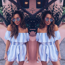 2017new Striped jumpsuit women ruffles romper with belt summer Slash neck jumpsuit lady Shorts boho beach coveralls female frock(China)