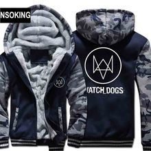 New Winter Warm WatchDog Hoodies Anime Aiden Pearce Hooded Coat watch dogs Thick Zipper men cardigan Jacket Sweatshirt(China)