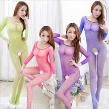 Women Long sleeves Sexy Lingerie Sexy Bodystockings transparent Open Crotch Teddies/Bodysuits netting Sex toys Whole body socks
