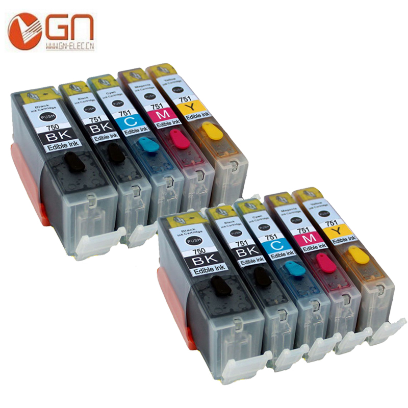 GN 10pcs PGI 750 750XL CLI 751 751XL edible ink cartridge For canon Pixma PIXMA IP7220 IP7230 MG5430 MX923 IP7250 IP7230 MG5450